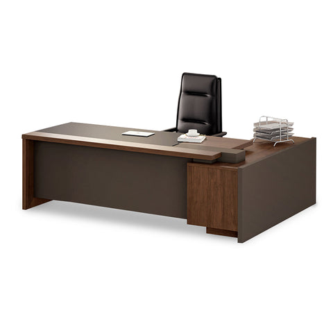 Barclay Executive Office Desk + Left Return - 200cm - Walnut + Grey