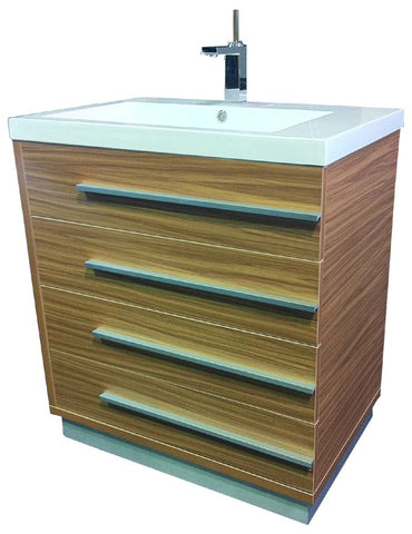 Bathroom Single Vanity with Basin - Oak Colour