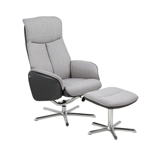 MINKA Reclining Chair + Ottoman - Grey & Black