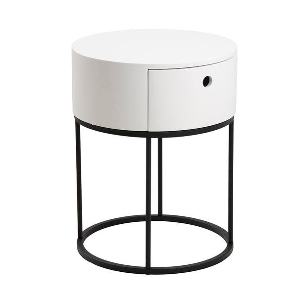 POLO Bedside Table 40cm - White & Black