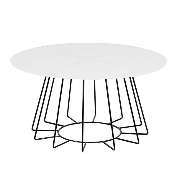 CYRUS Glass Coffee Table 80cm - White & Black