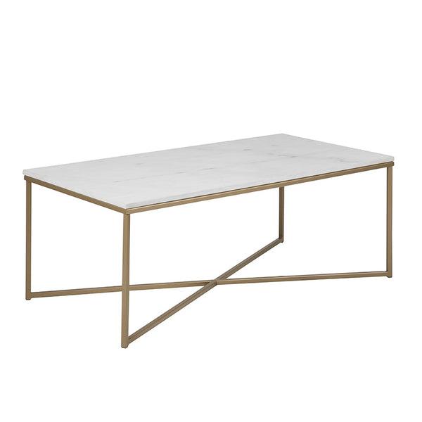 ALISMA Marble Coffee Table 120cm - White & Brass