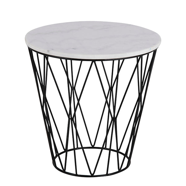 DARBY Side Table Marble 50cm - White