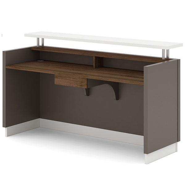 Amias Reception Desk 180cm Grey Flat White Modern