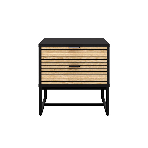 ODENCE Bedside Table 50cm - Natural & Black
