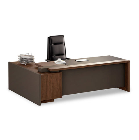 Barclay Executive Office Desk + Right Return 200cm - Walnut + Grey