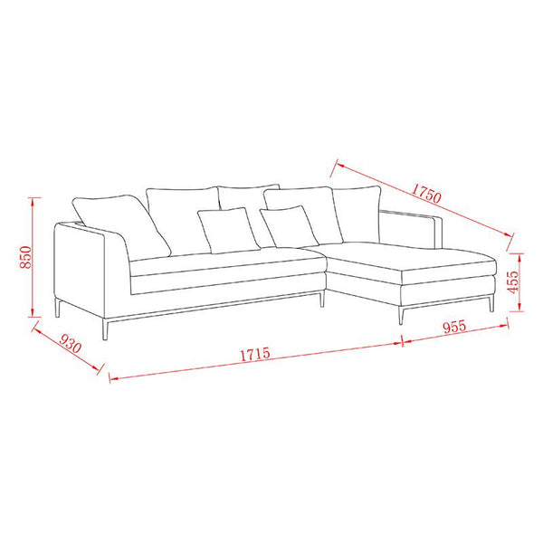 Leland 3 Seater With Right Chaise Blue Modern