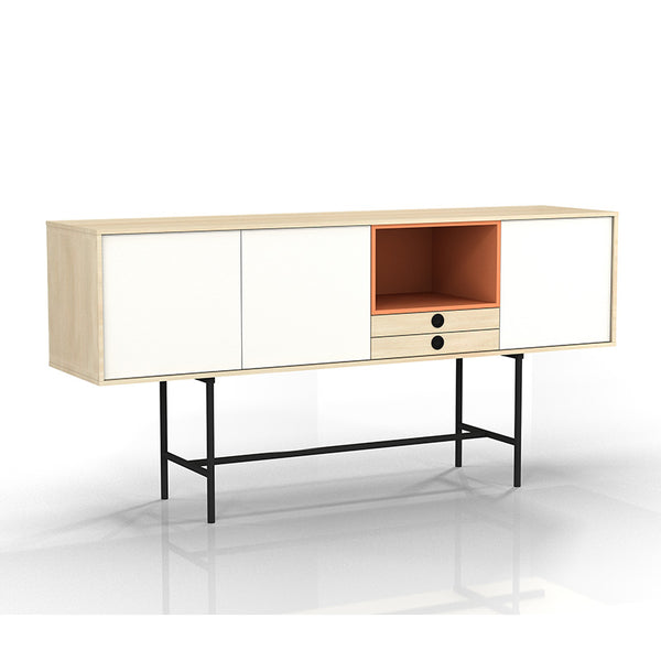 INDIE Sideboard - 163cm - Maple White & Orange