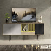 MALIKA Sideboard - 1.8M - Maple White/Yellow & Black