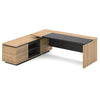 Dante Executive Office Desk + Left Return - 220cm - Kadi + Grey