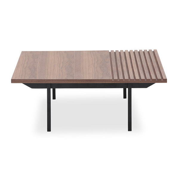 TOZZI Square Coffee Tables 85cm - Walnut & Black