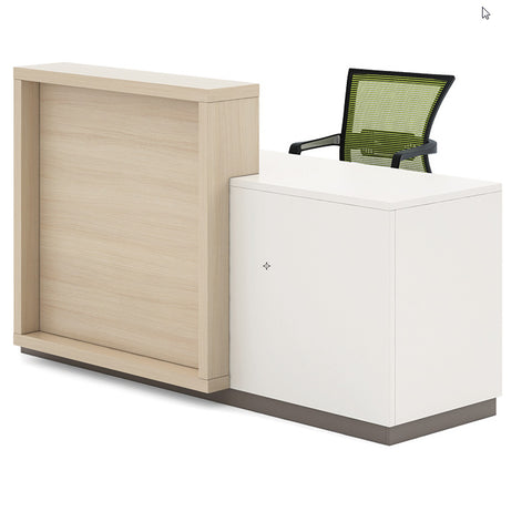 DONDI Reception Desk with Cabinet 1.8M - Kadi & White