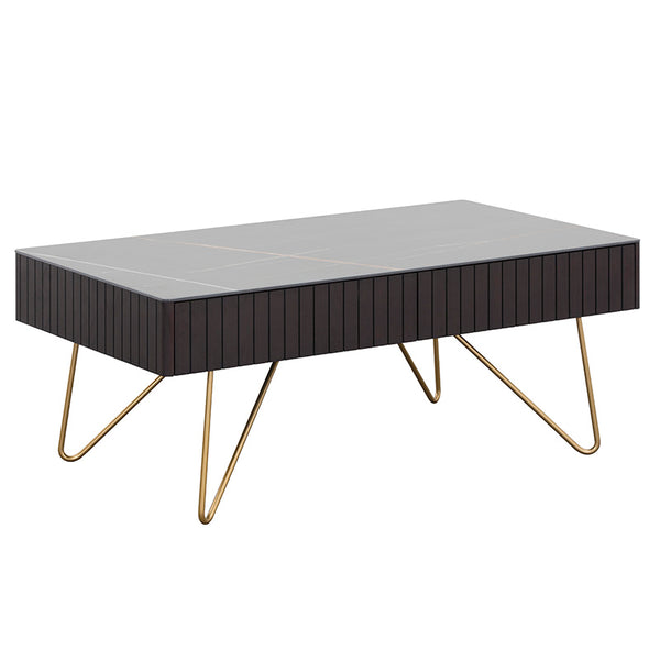 ELORA 116cm Coffee Table - Ceramic - Smoke Brown Ash