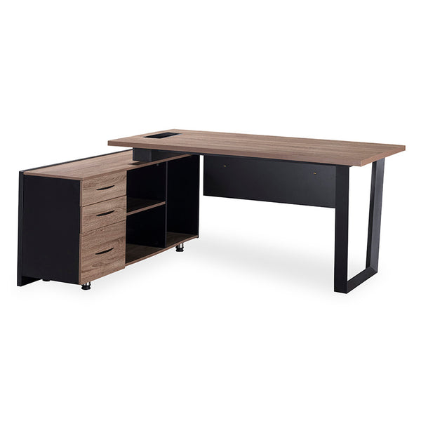 ADRIANO Executive Office Desk with Left Return 1.8M - Light Brown