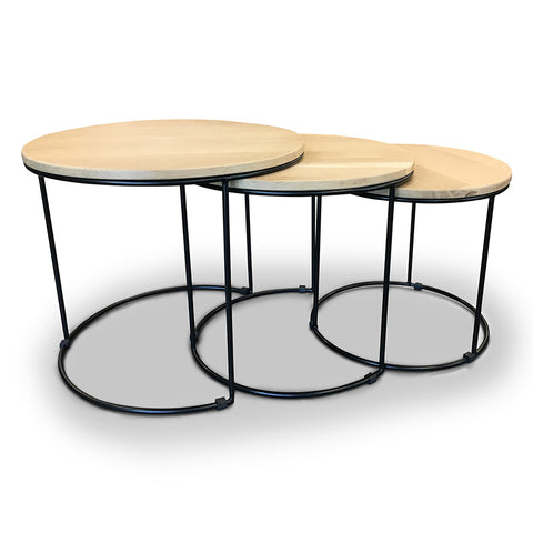 Eligio Nest of 3 Tables - 40-50cm - Oak + Black Metal