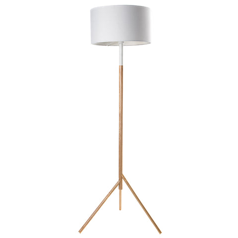 Woodi Floor Lamp - 150cm - White + Oak