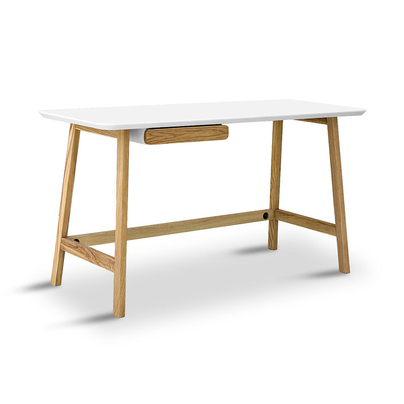 Katon Computer Desk - 140cm -  Matt White + Natural