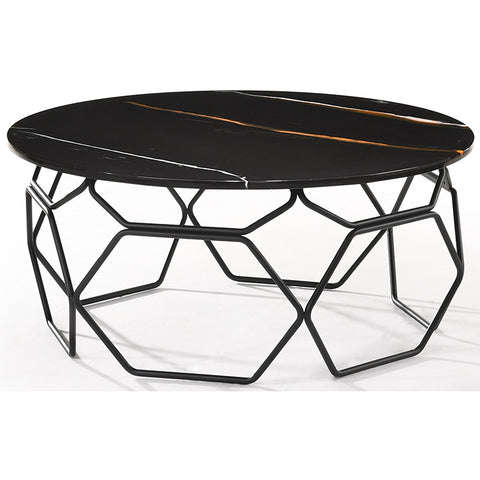 LINZA 90cm Black & Grey Marble Coffee Table