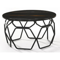 LINZA 60cm Black & Grey Marble Side Table