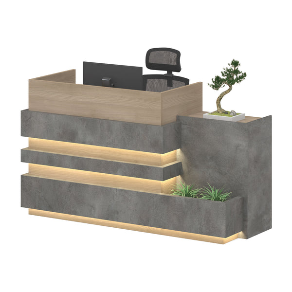KERAN  Reception Desk 1.8M - Acacia & Carbon Grey Colour