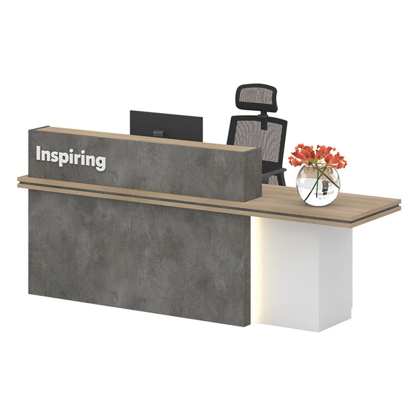 JARIN  Reception Desk 2.4M - Carbon Grey & White Colour