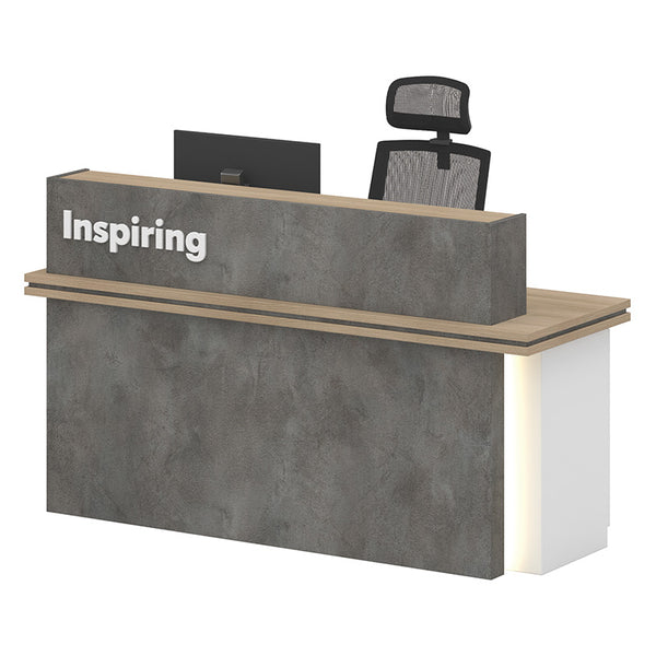 JARIN  Reception Desk 1.8M - Carbon Grey & White Colour