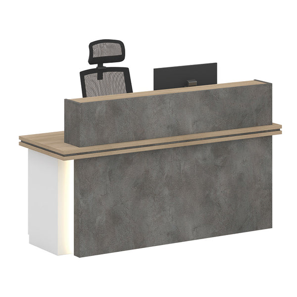 JARIN  Reception Desk 1.8M Left Panel - Carbon Grey & White Colour