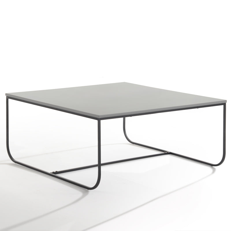 Marit Coffee Table - 90cm - Light Grey + Black Metal