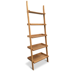 Milt Leaning Bookcase - Natural Oak