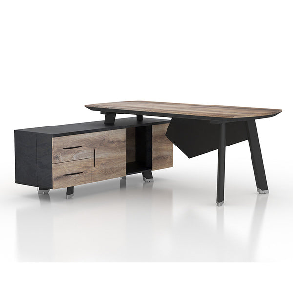 ARTO Executive Office Desk with Left Return 1.8M - Mahogany Black