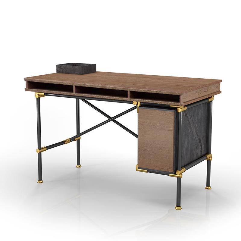 PARKER Single Workstation Desk  with Right Cabinet 1.2M - Tobacco
