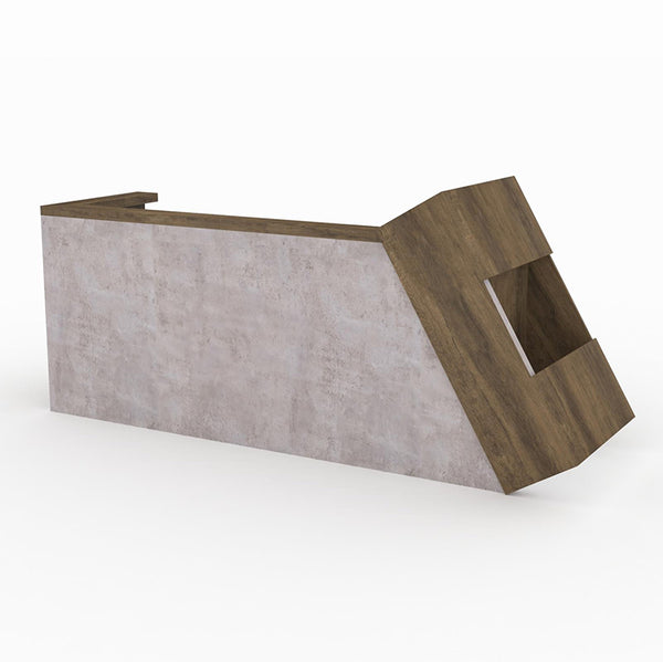 QUADE Reception Desk Left Panel 2.0M - Brown Oak Concrete Color