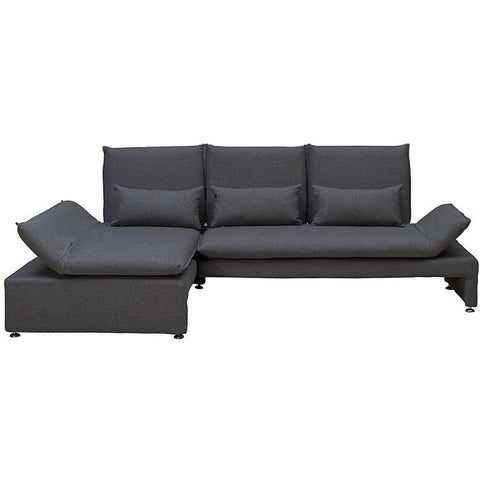 Balto Adjustable 3 Seater Sofa + Left Chaise - Charcoal Grey