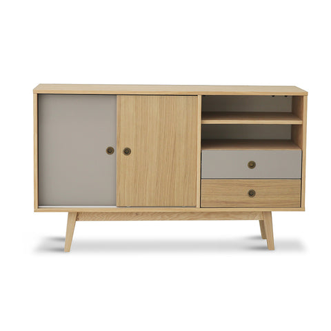 Sabra Sideboard - 140cm Matt Grey + Natural