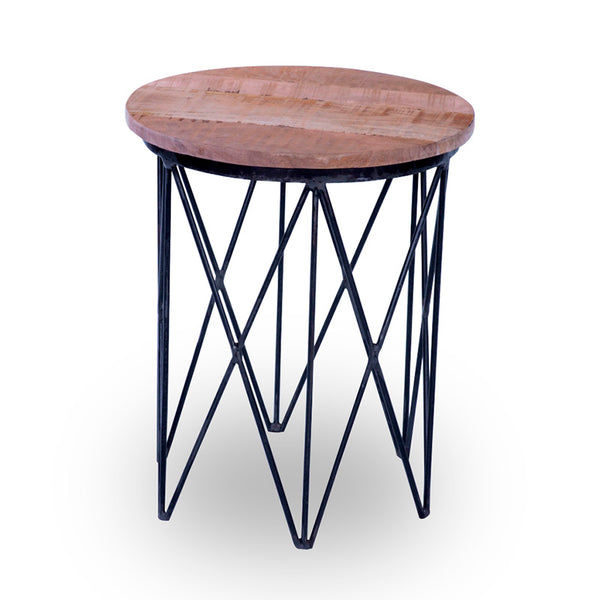 TAYA Side Table - Solid Mango Wood & Iron