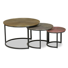 BERNON Nest of 3 Tables - Brass, Silver & Copper