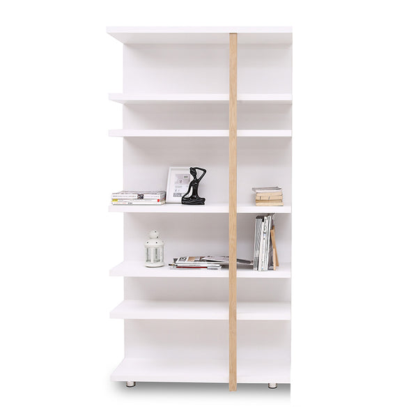 Tansy Display Unit Book Shelf  100cm - Matt White + Natural