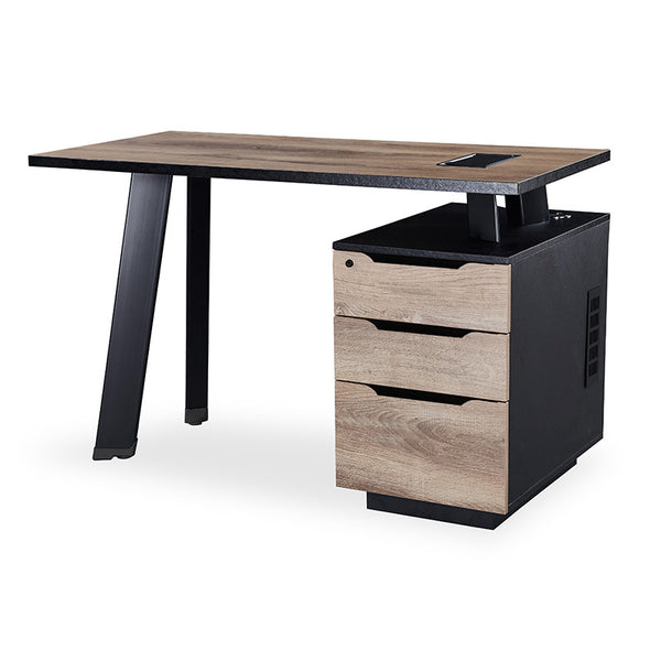 ARTO Single Workstation Desk with Right Cabinet 1.2M - Mahogany Black