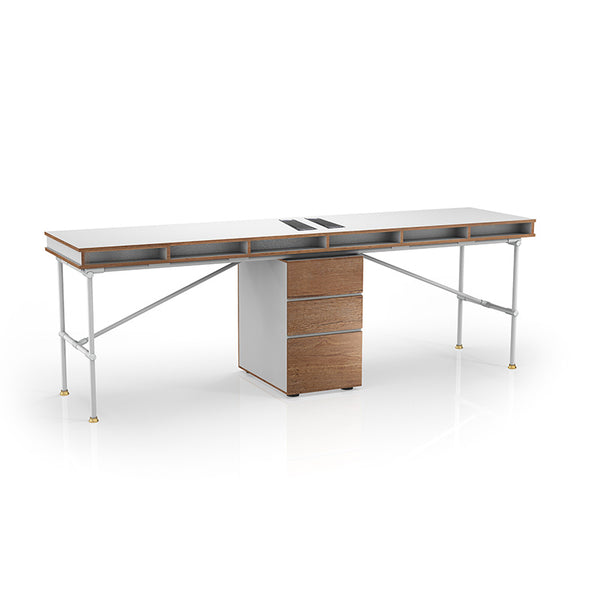 PARKER 2 People Workstation Desk with Cabinet 2.4M - White