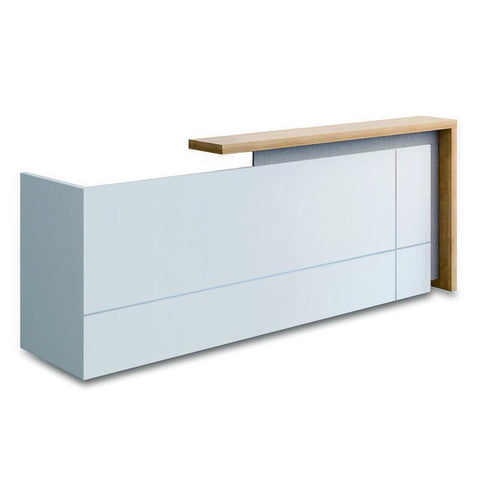 ZIVA Reception Desk  2.4M with Left Panel - White