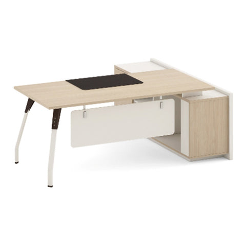 NESTOR Executive Office Desk with Left Return 180m - Ivory