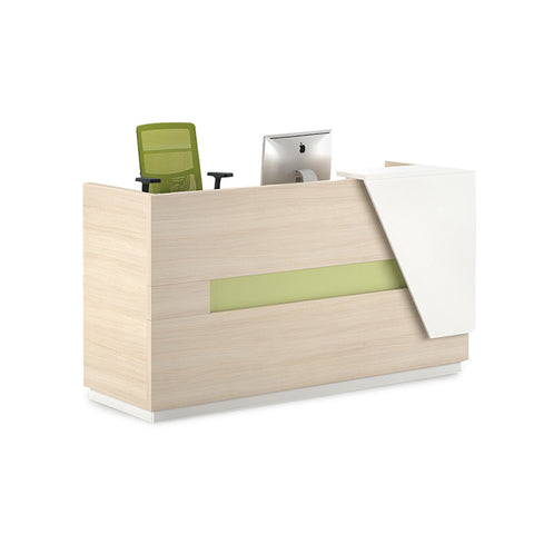 CLARK Reception Desk 1.8M Left Panel - Light Oak and White