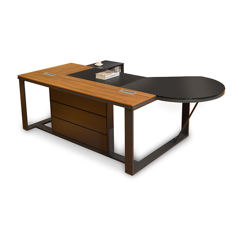 Jaxon Executive Desk 240cm Walnut & Grey Reversible Return