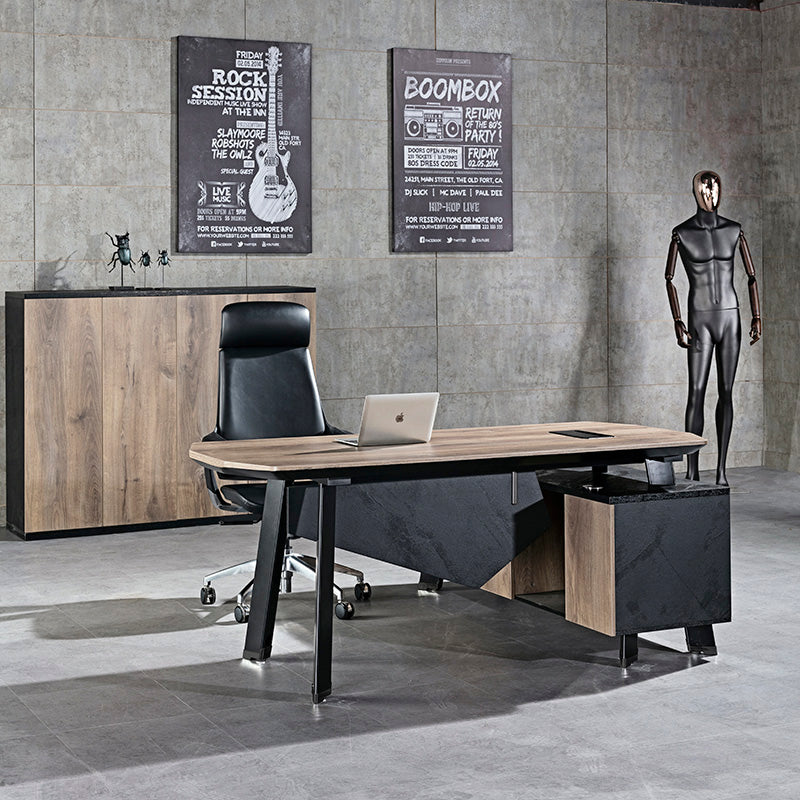 Arto Executive Office Desk With Left Return 1 8m Mahogany Black Office Furniture Desks Featured Products Modern Furniture