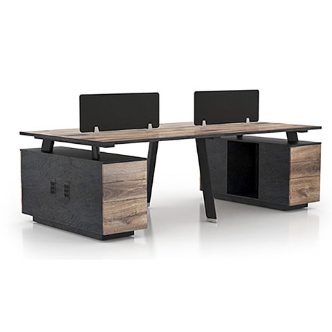ARTO Workstation Desk Double Sided 4 People with 2 Cabinets - Mahogany Black