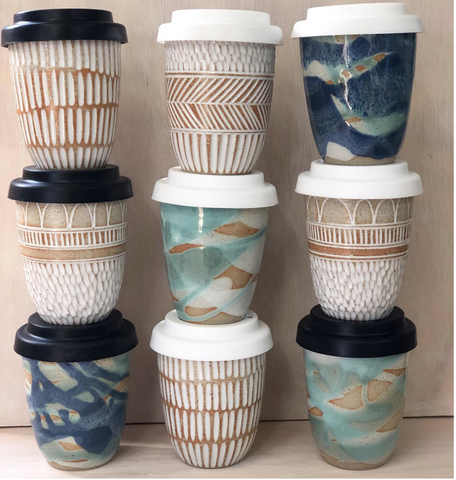 handmade keep cups in various colours and textures