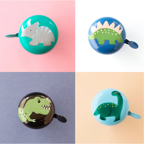 4 different dinosaur themed bike bells