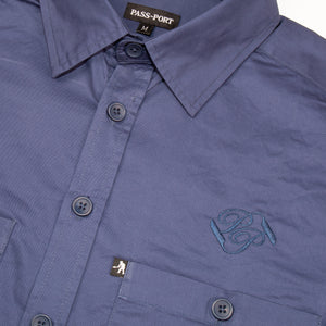 "PASS~PORT ""WORKERS BANNER"" L/S SHIRT FRENCH NAVY"