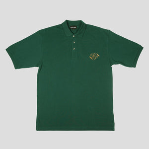 "PASS~PORT ""BANNER"" EMBROIDERED POLO GREEN GLEN"