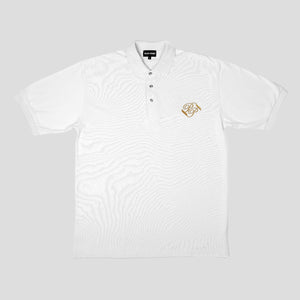"PASS~PORT ""BANNER"" EMBROIDERED POLO WHITE"